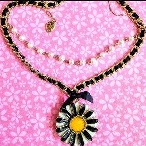 Betsey Johnson Multi-Layer Prarl Daisy Necklace